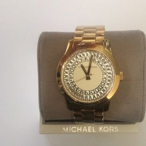 """Michael Kors Gold Watch With """"Diamond"""" Face"""